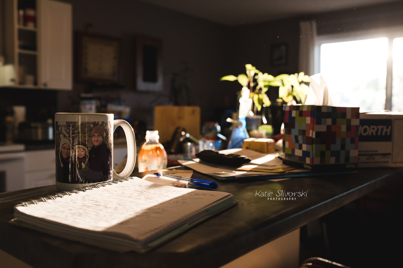 Early morning light on coffee cup