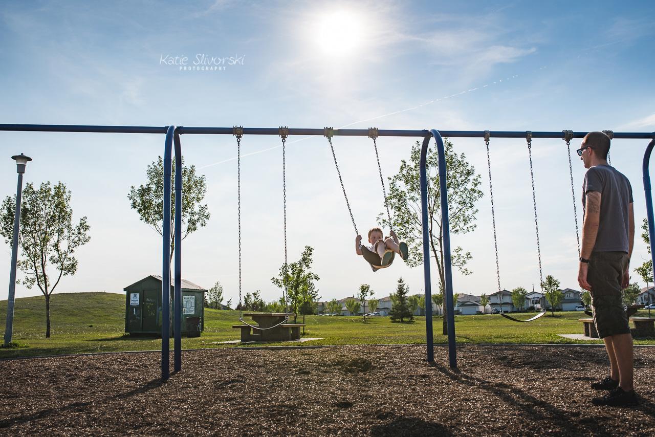 playground swings in north Edmonton