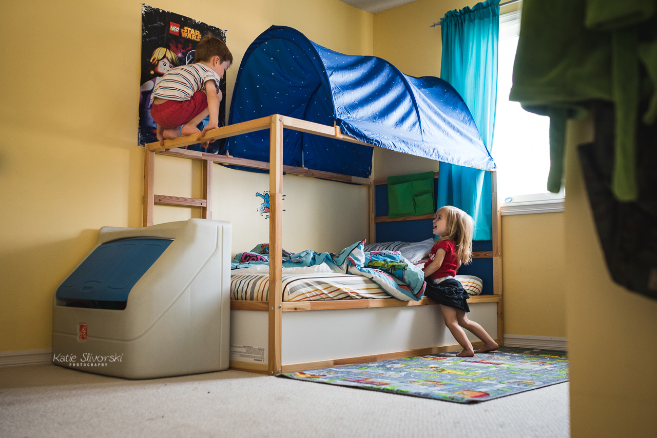kids jumping on IKEA bed