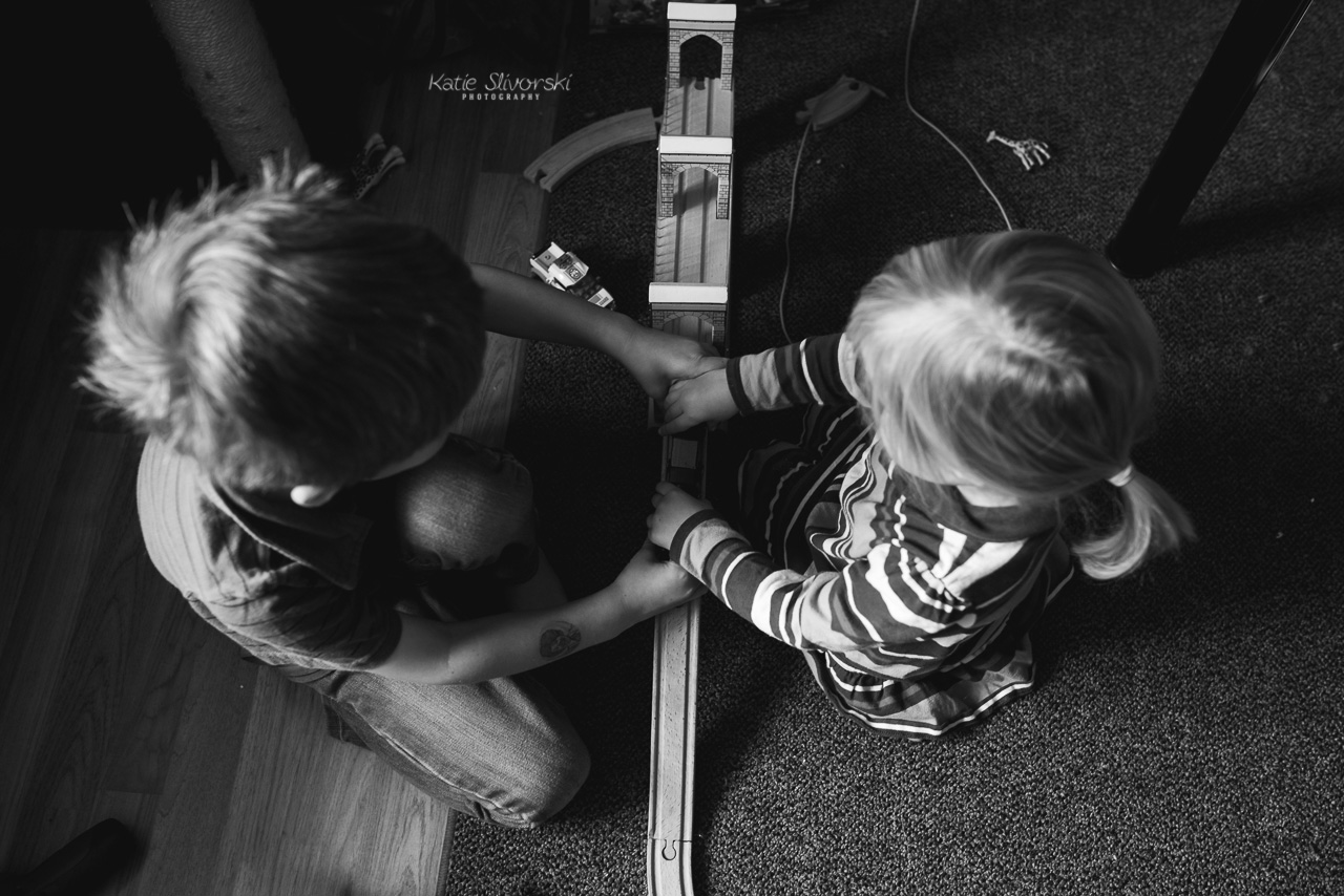 kids playing with trains