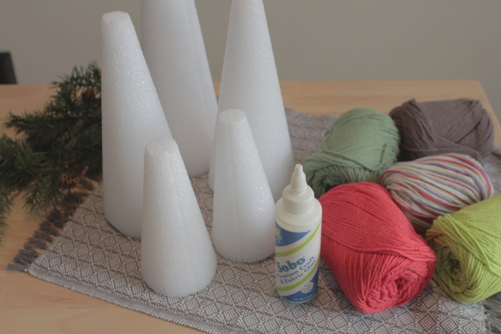 supplies christmas colored yarn fabric glue styrofoam cones
