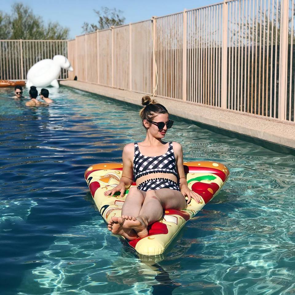 Gingham Pom Pom Bikini  /  Sunglasses  /  Pizza Float