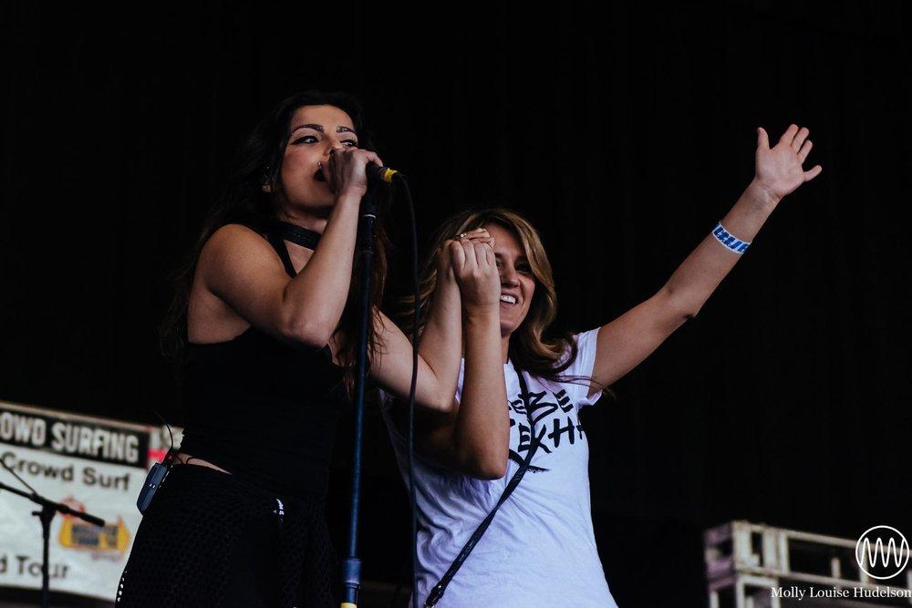 Bebe Rexha and her mom / 7/10/15 / Vans Warped Tour / Camden, NJ