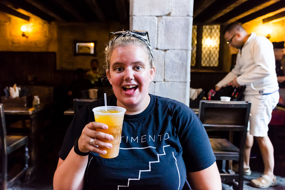 The pumpkin juice at The Leaky Cauldron was delicious! / 3/5/16 / Universal Studios / Orlando, FL