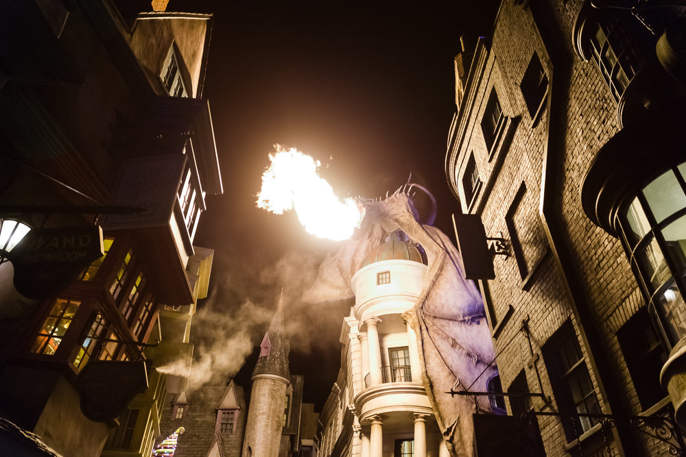 ...and breathing fire at night. / 3/5/16 / Universal Studios / Orlando, FL