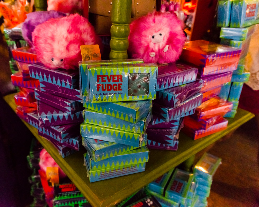 Pygmy puffs and some treats at Weasley's Wizard Wheezes. / 3/5/16 / Universal Studios / Orlando, FL