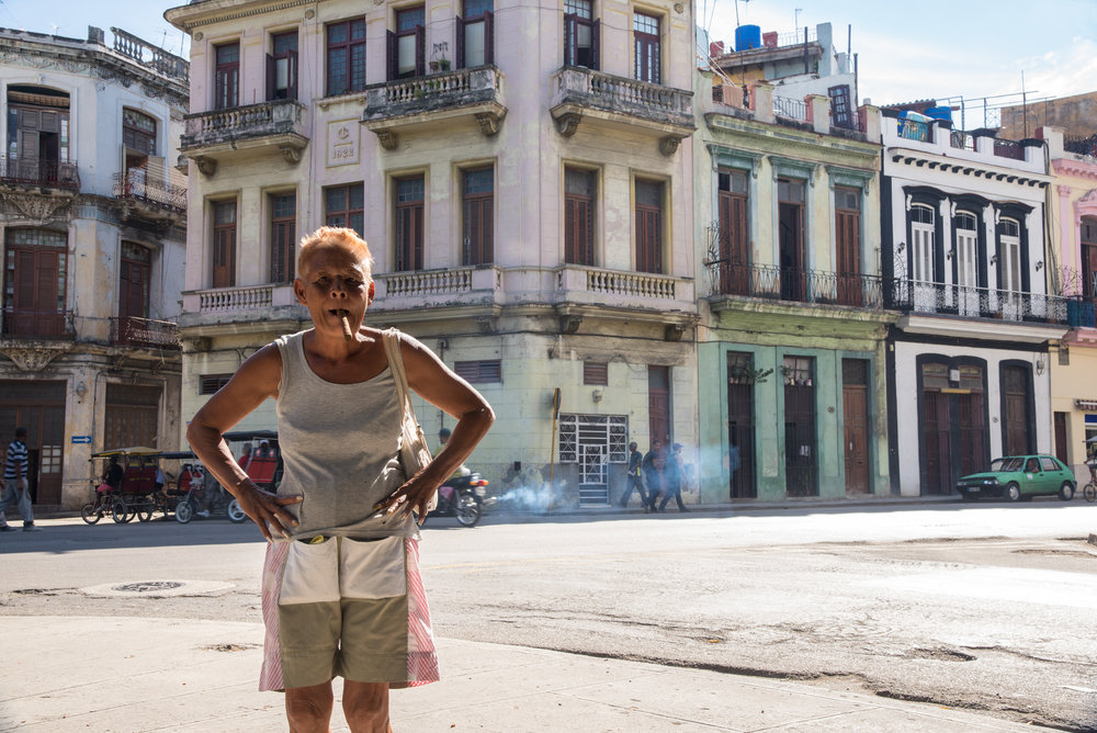Havana, Cuba - A Local and Her Cigar