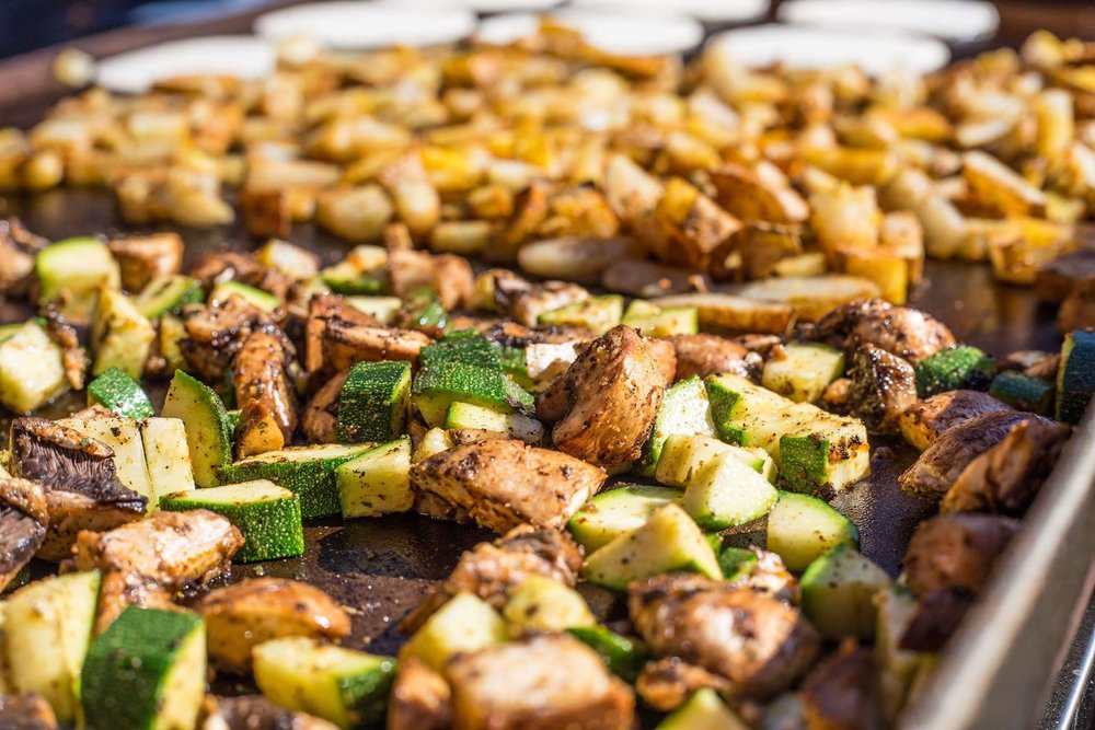 All organic portobello mushrooms, zucchini, and potatoes with NayNay's taco seasoning.