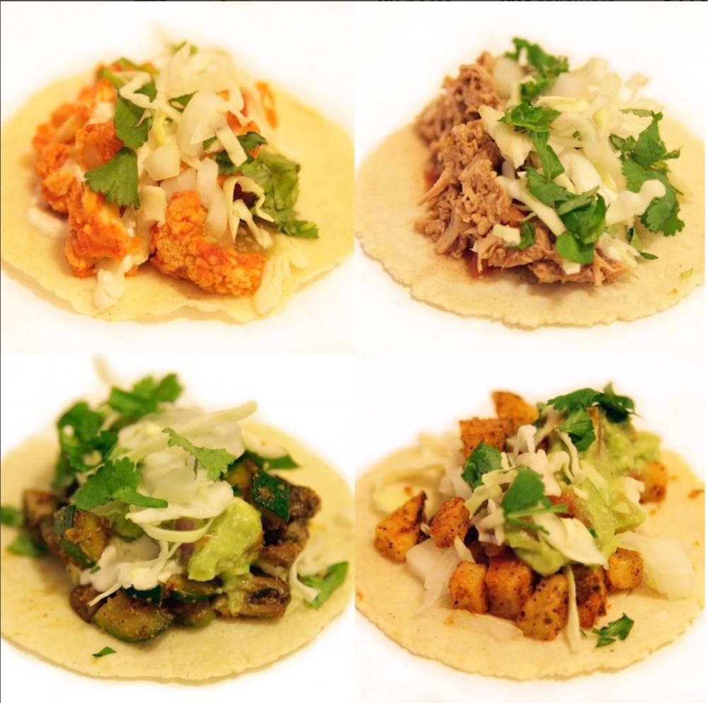 From top right: Buffalo Cauliflower, BBQ Jackfruit, Portobello Zucchini, & Potato taco.