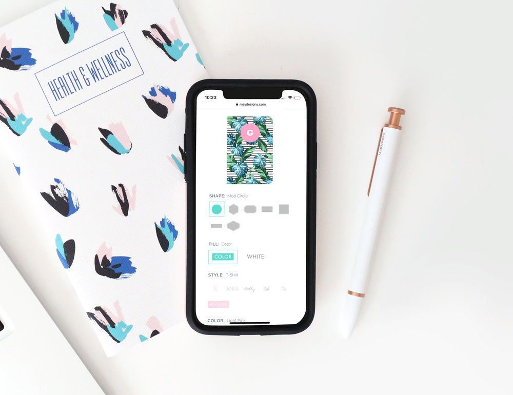 CUSTOM BUILDER - I worked closely with our CTO and developer to create a mobile friendly builder that allows customers to customize their products. They can scroll a pattern library, choose a monogram shape, color and font. For inside page, I created icons that represent each option we offer.