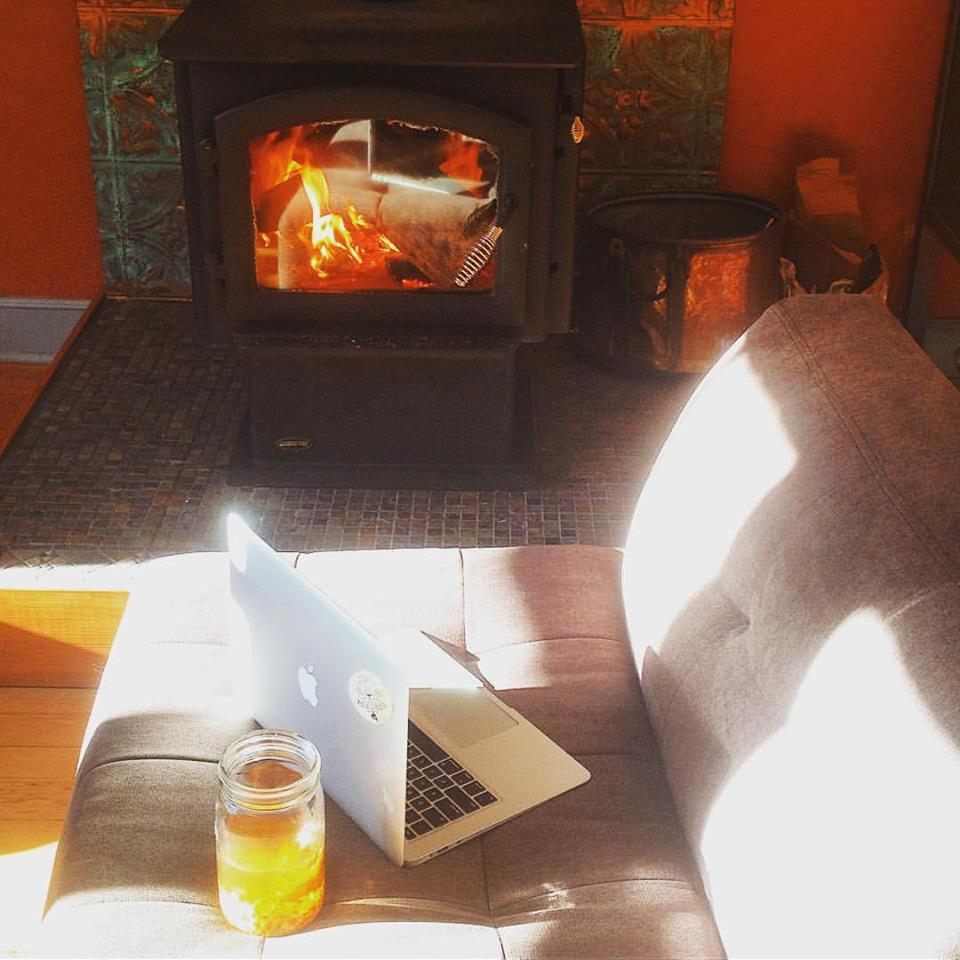 Staycation moment. Working on the new website but also sun bathing in wintery light next to a wood stove. It's the little ways we pamper ourselves that make our lives worth living. Be good to yourself while you work.