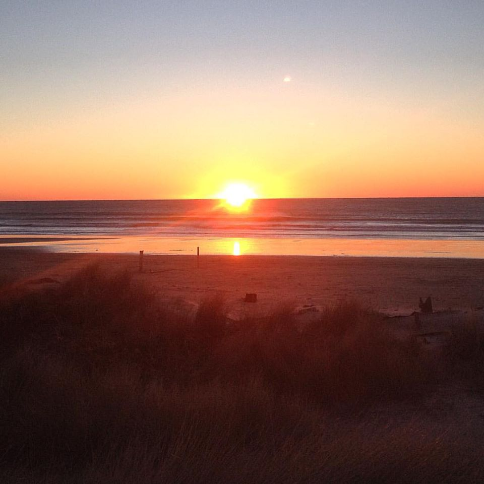 Manzanita Beach at sunset is magical- even if I did just run and catch it after making a bank deposit!