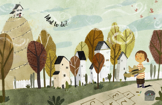 "Illustration from picture book ""Kate, Who Tamed The Wind."""