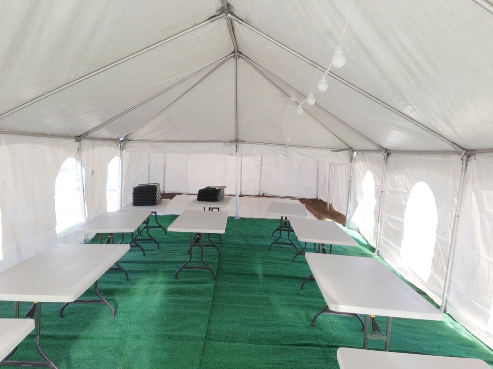 Cover up poor flooring: dirt, weeds, old grass etc.                                                         Cover it up to give your event a classier look.