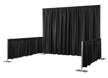 Pipe and Drape can be set to 3 ft and 8 ft high.
