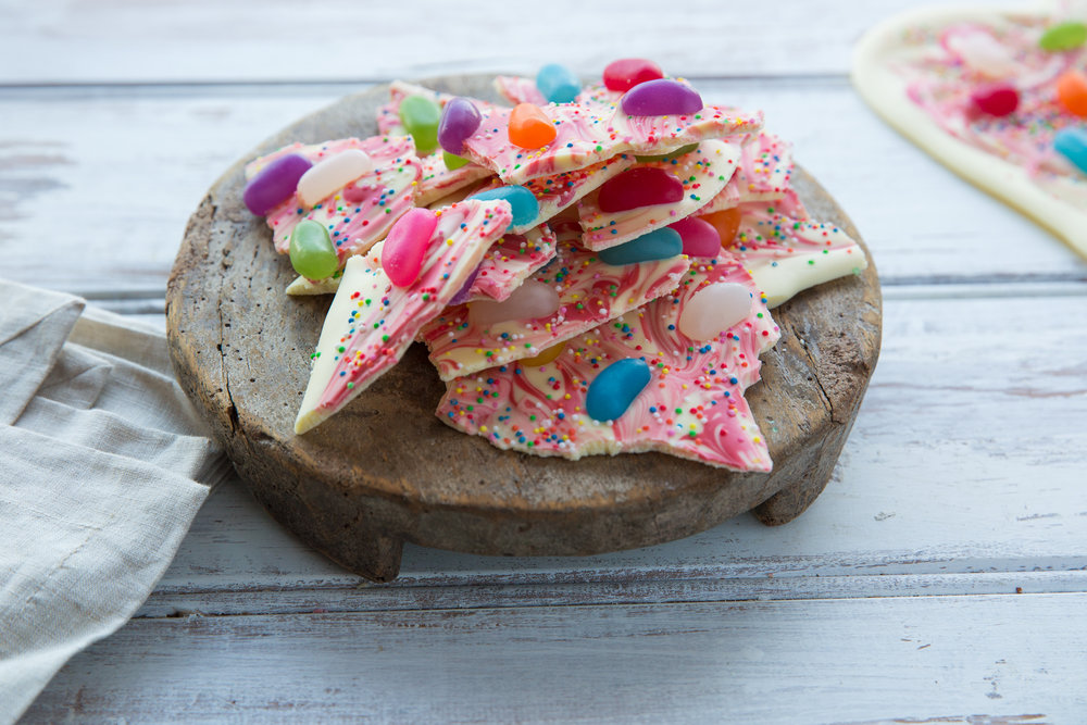 Jelly bean and white chocolate bark