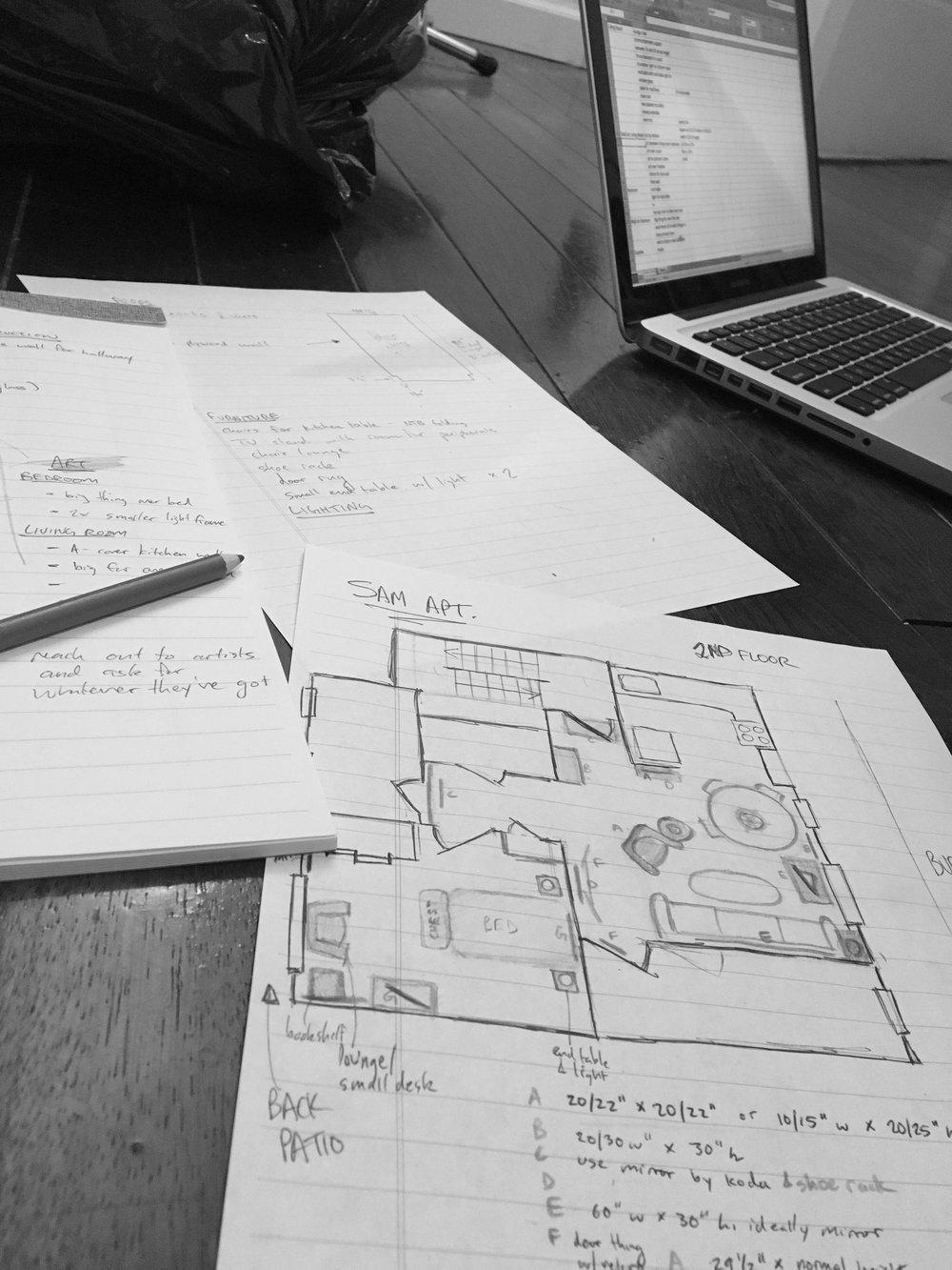 Furniture & art planning for Ellen's apartment.