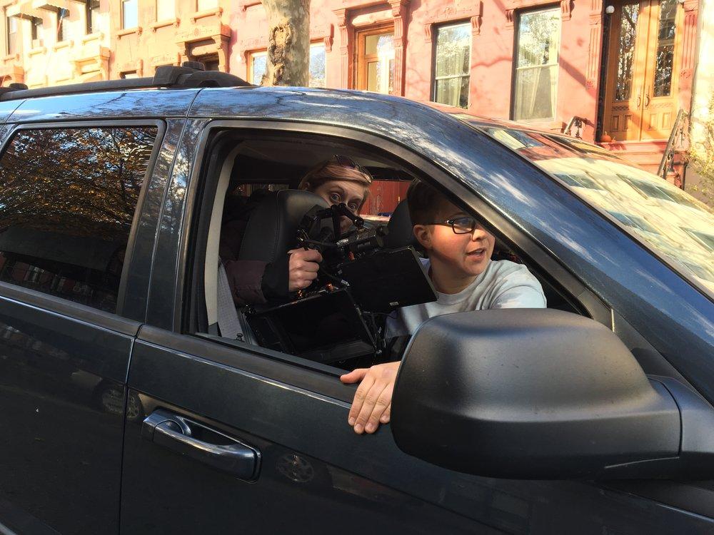 DP Andi Obarski and 1st AC Charlee Harrison prepping for tracking shot.