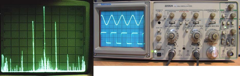 Oscilloscope showing an electrical signal.