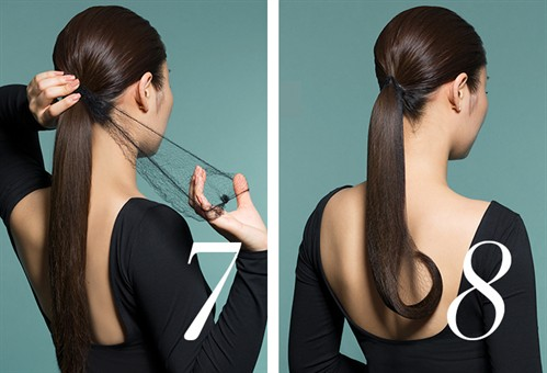 Take a large hair net that is similar to your hair colour, and attach a small bobby pin to the rim of the net. Secure the bobby pin to the top of your ponytail and enclose your ponytail in the hair net.  Wrap your netted ponytail and mould into your desired shape.