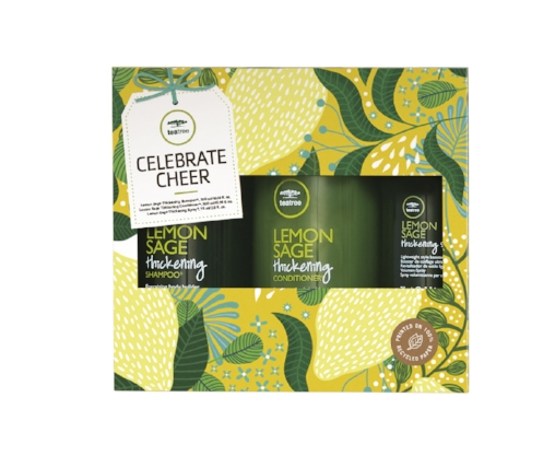 Celebrate Cheer – Lemon Sage    THICKENS HAIR & REFRESHES THE SENSES   Lemon Sage Thickening Shampoo® 300ml   Lemon Sage Thickening Conditioner® 300ml   Lemon Sage Thickening Spray® 75ml   RRP £32.00