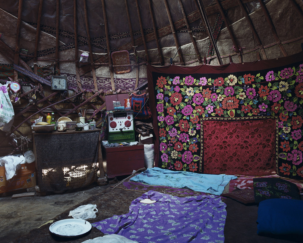 Xinjiang, Illy Valley - tent with flower rug