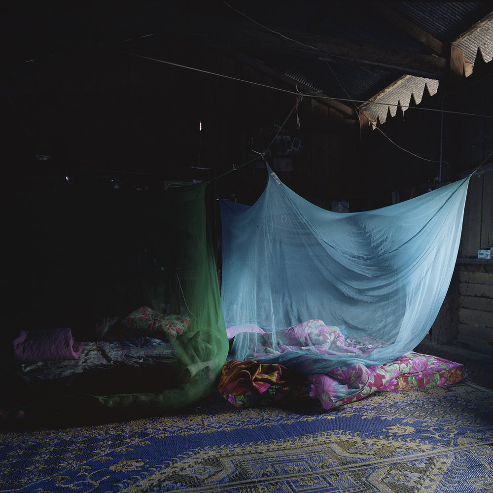 Yunnan, Mengla - blue mosquito netting