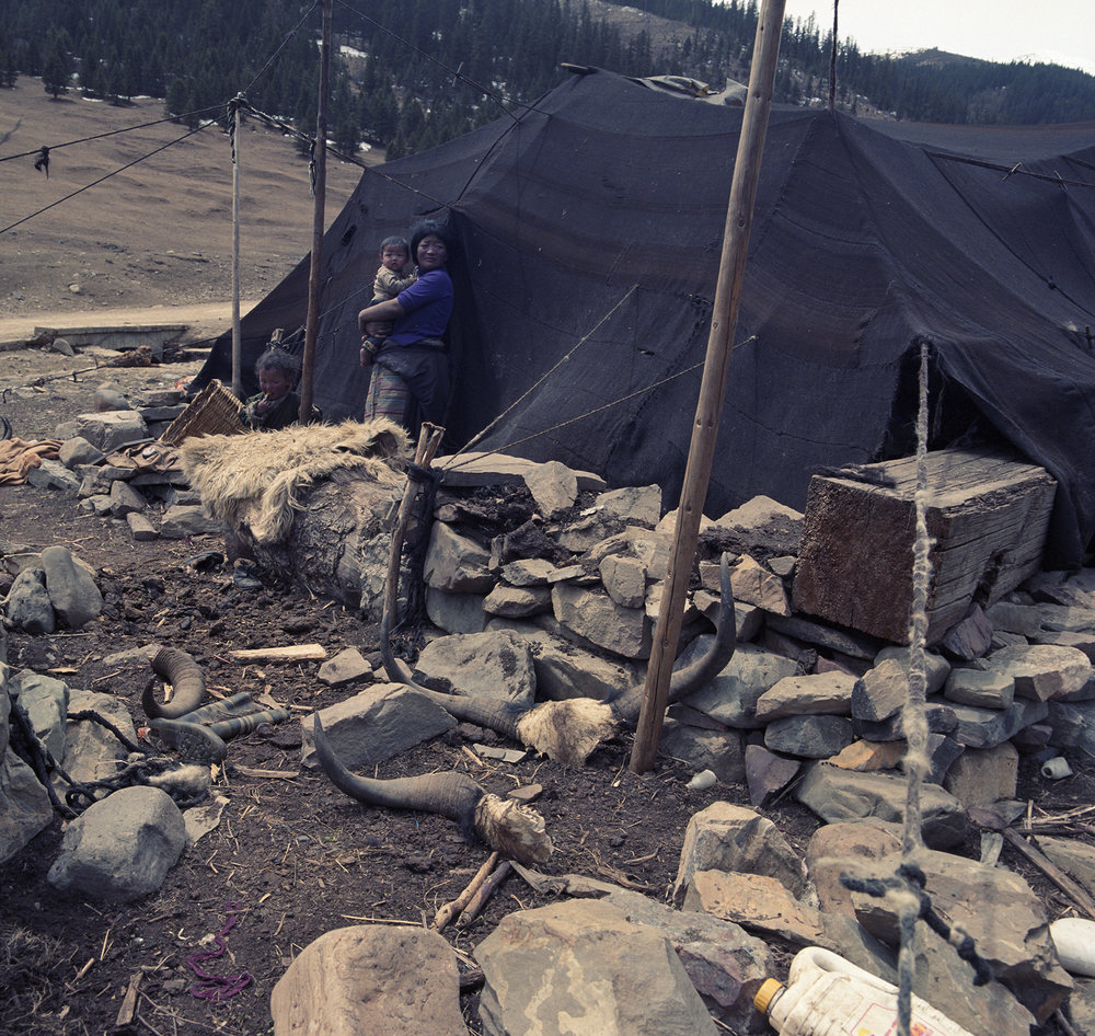 2010, near Litang - nomad tent along the road.
