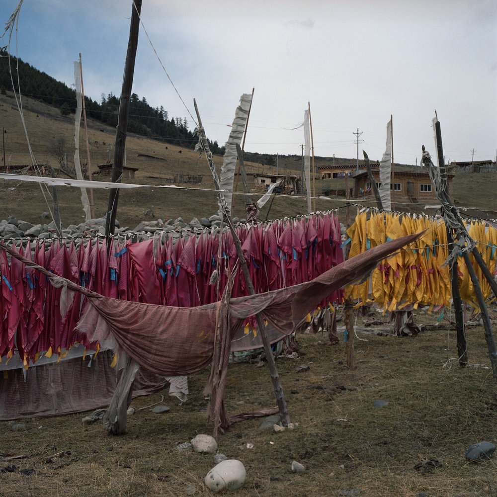 2010, near Yliang - a mountain full of prayer flags.