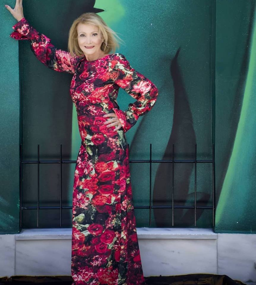 "Greek actress and legend ""Nelly Gini"" with her JULYTWO floral printed dress, photographed by Penelope Massouri."