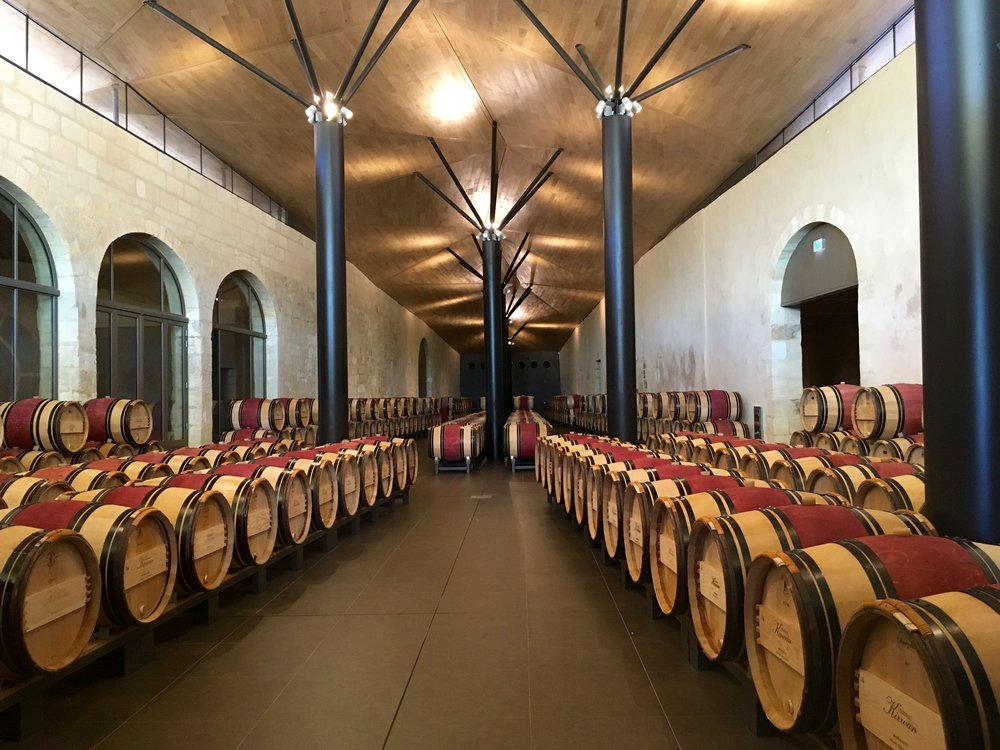 Wine cellar at Château Kirwan