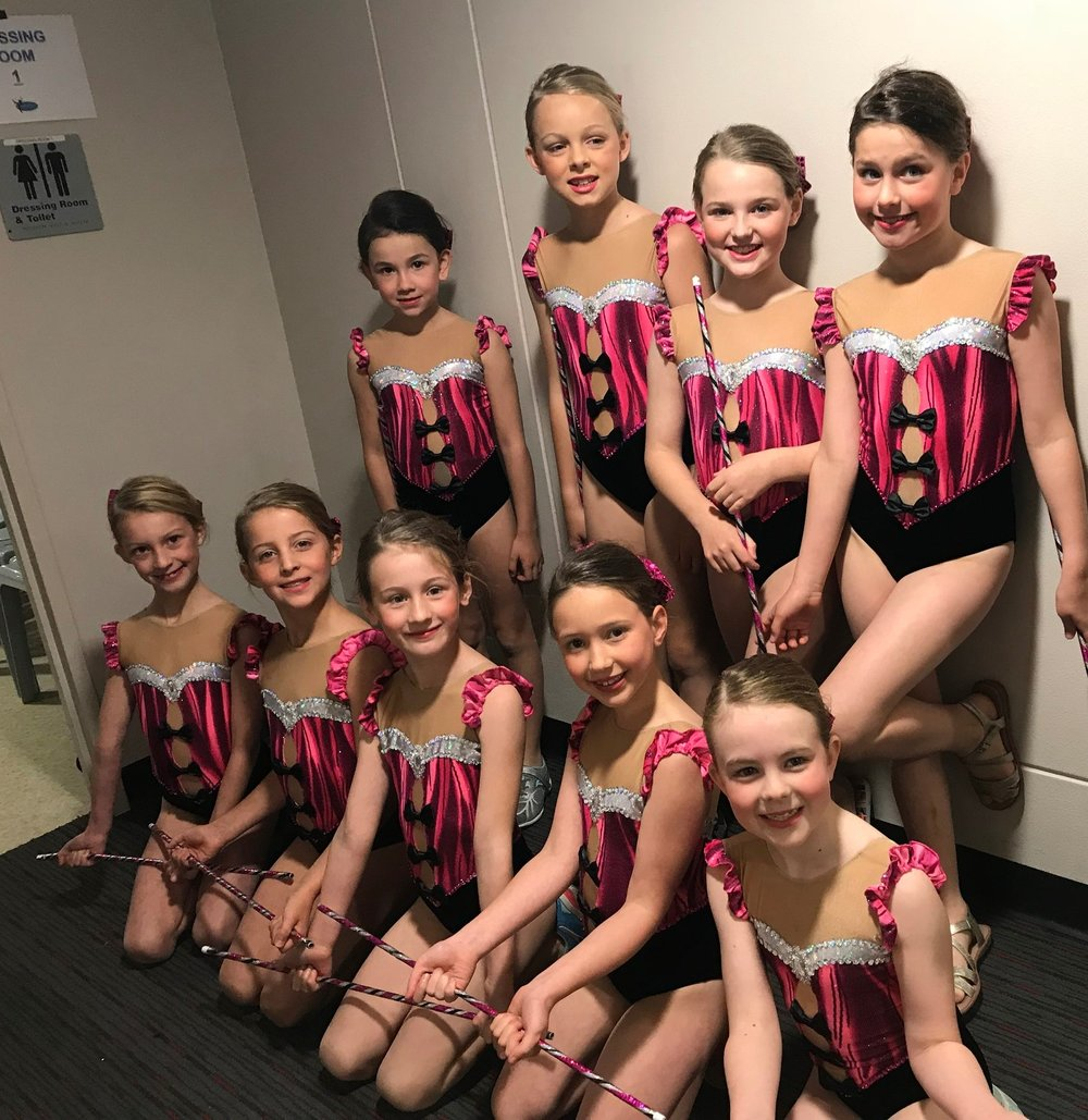 Sub-Juniors team before performing their Rods routine - look at those excited faces