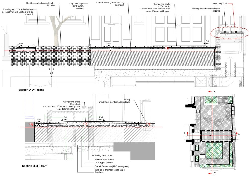 On Site M1515-Technical Design to Installation of new landscaping for a private residence in Kensington, London. Scheme Design: Lewis Graeber