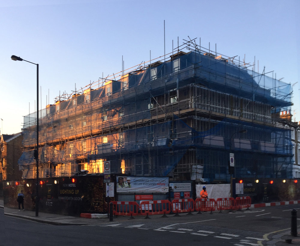On Site M1546 - Technical design and installation of landscaping for new hotel in Hammersmith, London. Landscape Architect: Tracy Parker