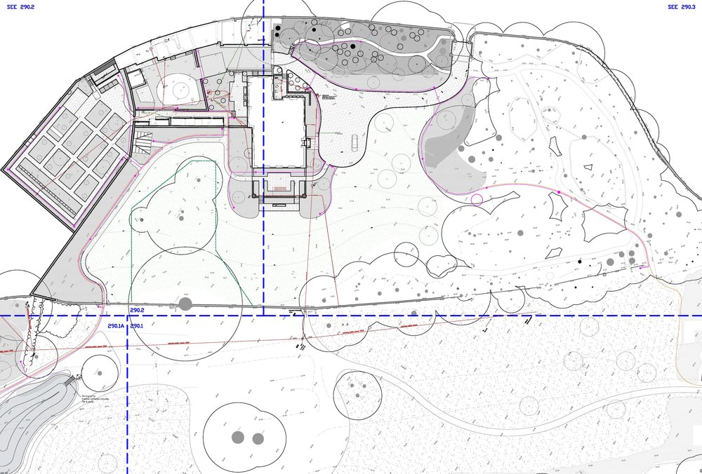 M1630- Technical design and installation of hard and soft landscaping for new private landscape for a listed building in Yorkshire.  Landscape Architect: Tom Stuart-Smith