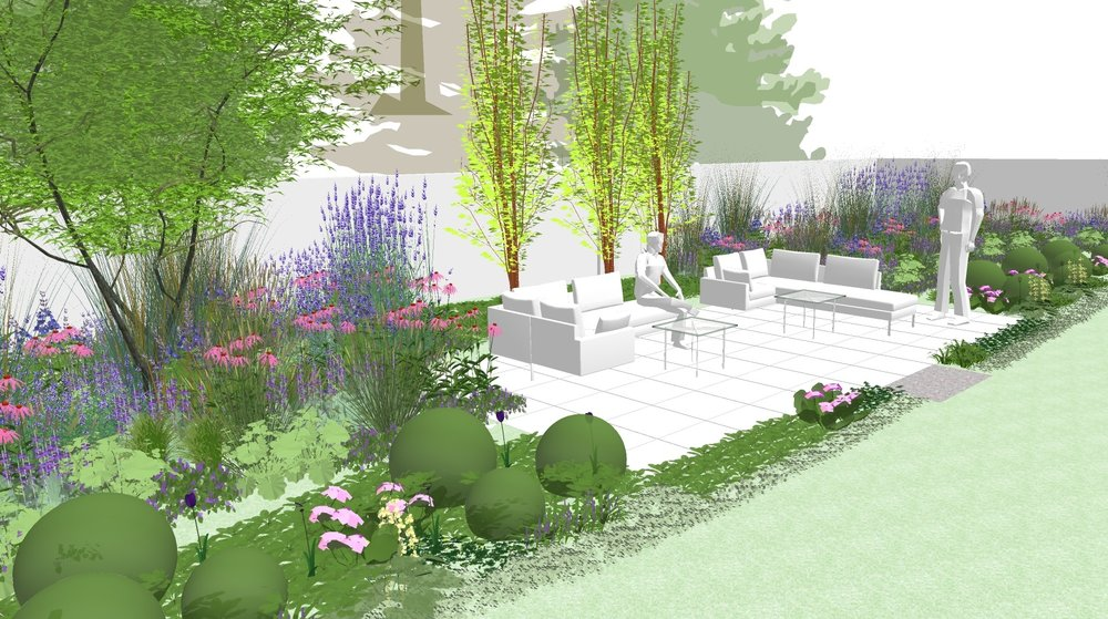 M1552- Design and installation of hard and soft landscaping for new private landscape in London.  Design: Modular