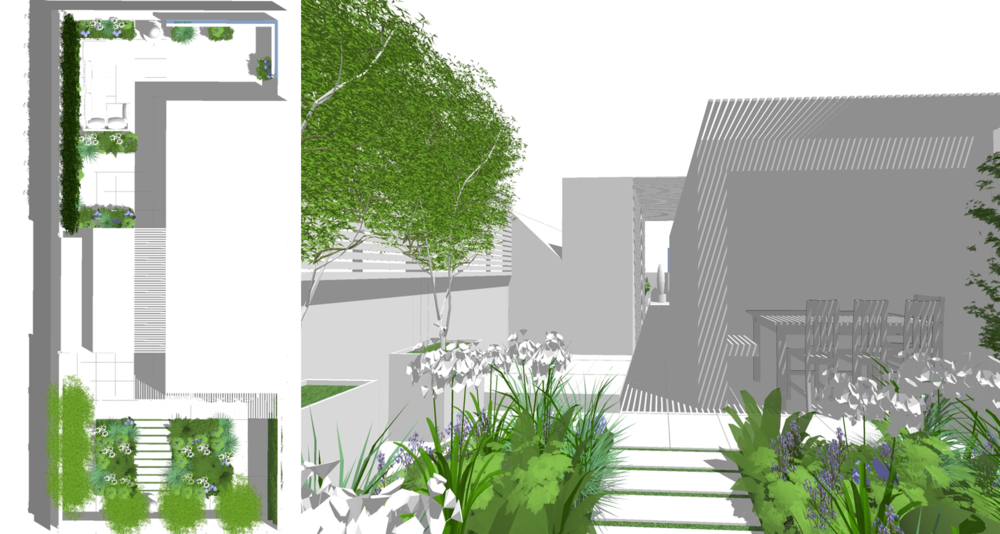 M1633 - Design and installation of new roof terrace for a private penthouse in Belsize Park London.  Design: Modular