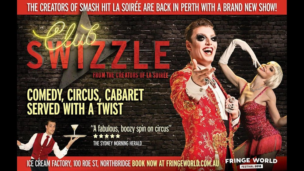 After sell-out seasons of La Soirée and a rampaging run around the world, its creators return with Club Swizzle. A bar where crazy good times abound, and the most debaucherous souls in show business come together to create a show you'll never forget. In the confines of Adelaide's Festival centre and hosted by international ladies man and every man's lady Reuben Kaye, Club Swizzle is a melee of outrageous cabaret, air-defying acrobatics, infectious musical revelry, and it's calling your name. Swizzle your senses with a mixed-up cabaret that will leave you giddy with delight.