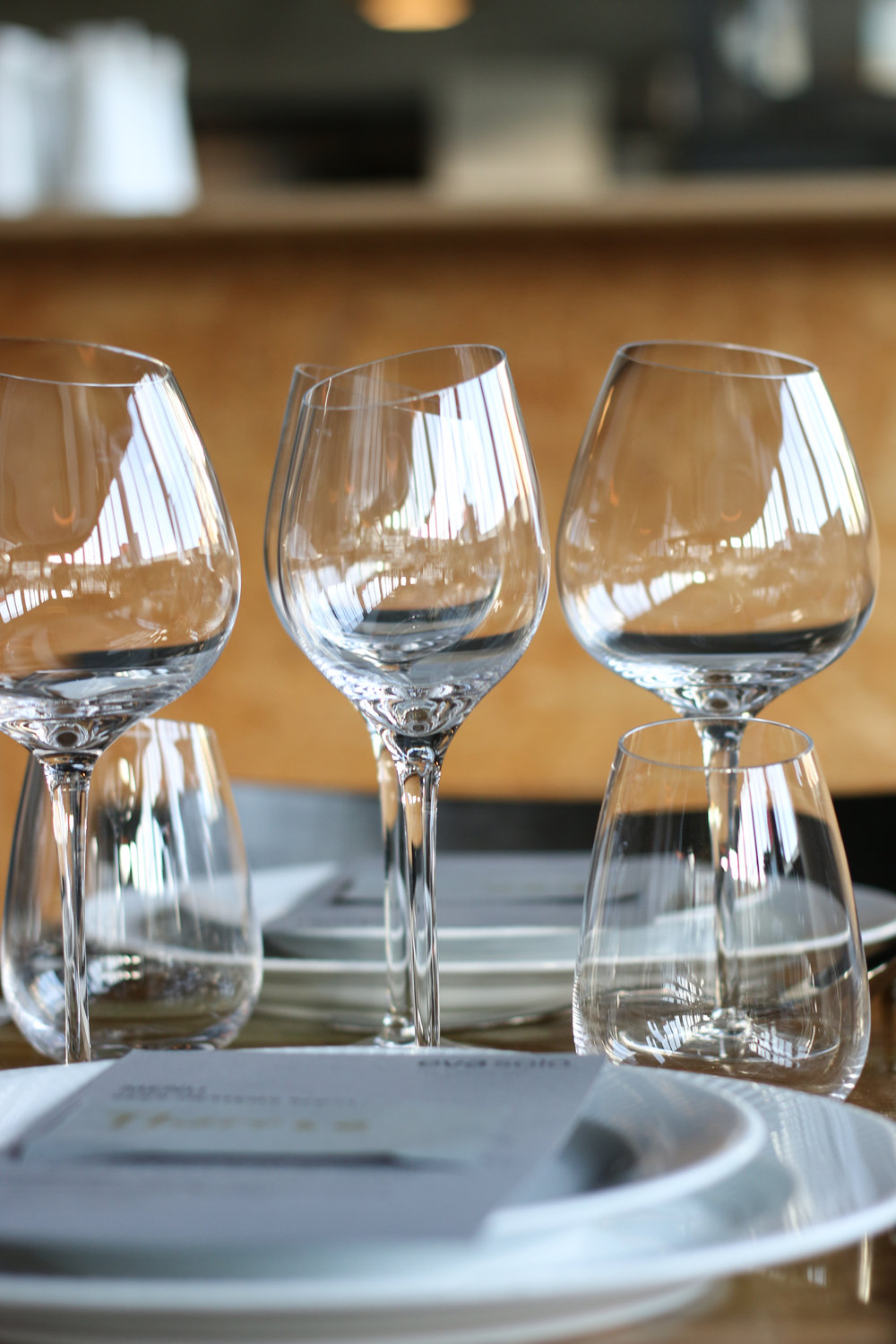 Dinner table photography with vine glasses and table serving for two. Features eva solo white wine and red winde glasses.