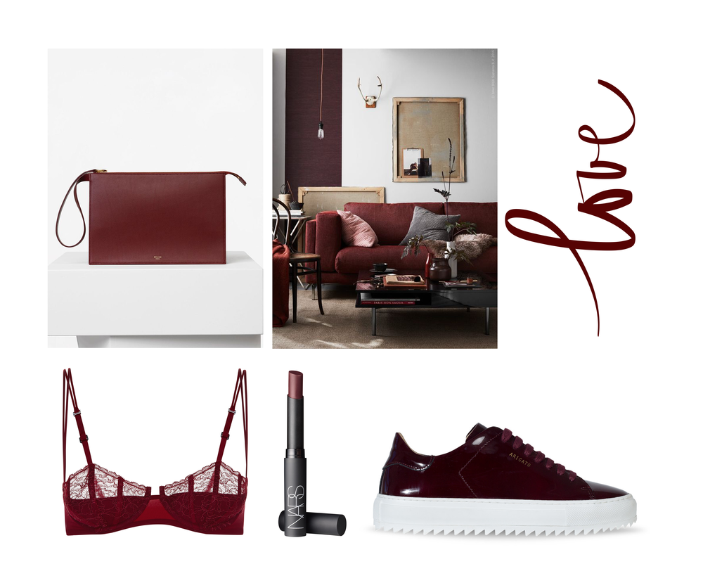 Bordeaux red image collage featuring bordeaux red patent leather axel arigato sneakers, crimson la perla bra, nars lipstick in colour amsterdam and interior inspiration with red details.