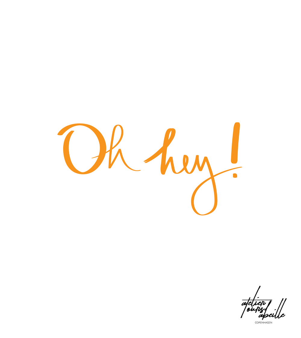 Handwritten illustration featuring lettering and orange coloulr inspired by Garance Dore handwriting.