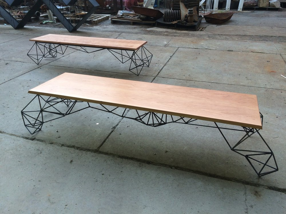 Curly Cherry and Steel Coffee Table.jpg