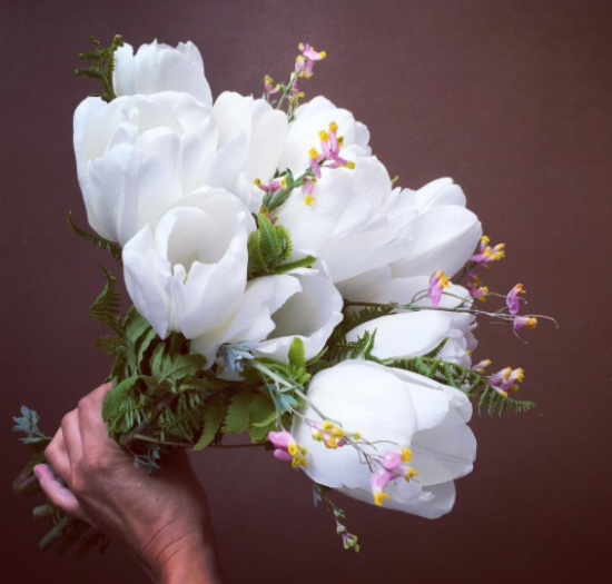 2016 May Bouquet: Jumbo Darwin White Tulips with Wild Corydalis and Foraged Ferns
