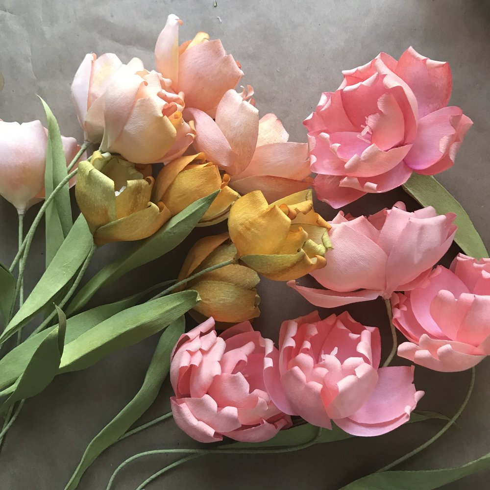 Florabeane Paper Tulips with Alcohol Ink