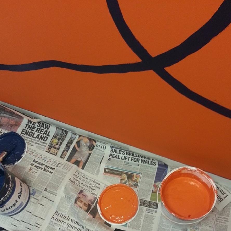 Orange paint.
