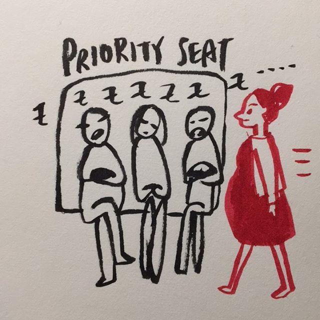 Priority seat narcolepsy 😴  優先席ナルコレプシー🙄  #pregnancydiary #narcolepsy #priorityseat #benicetopregnantwomen #illustratedpregnancy #melonchan #31weekspregnant #妊娠日記 #妊婦日記 #妊娠イラスト #メロンちゃん #妊娠31週 #8ヶ月 #優先席あるある #ナルコレプシー #妊婦に優しく