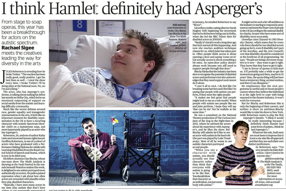 Feature on actors with autism