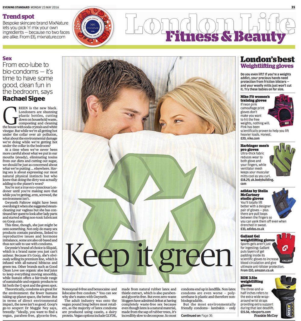 Feature on eco-friendly sex