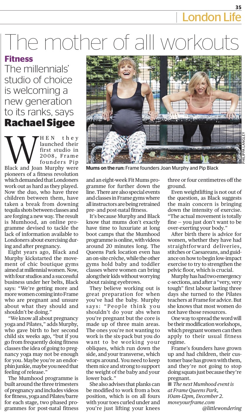 Feature on pregnancy and motherhood exercise