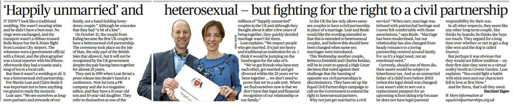 Feature on heterosexual civil partnership